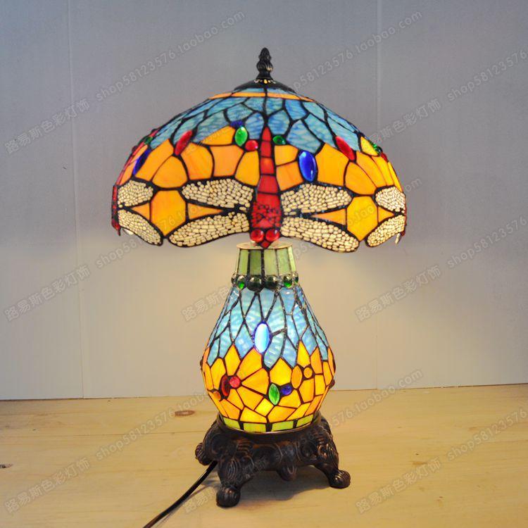 High-end European style 12 inch Dragonfly cluster lamp Tiffany vintage art lighting bar bedroom bedside glass lamp