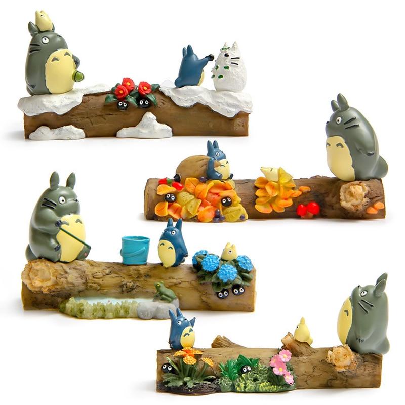 Figuras de resina estilo japonés modelo Totoro miniaturas Primavera Verano Otoño Invierno escena de temporada escritorio decoración de Navidad artesanías