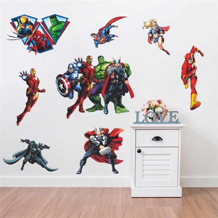 Avenger, regalo para niños, pegatinas de pared de Iron Man, Hulk, Liga de la justicia, pegatina decorativa, regalo DIY 119