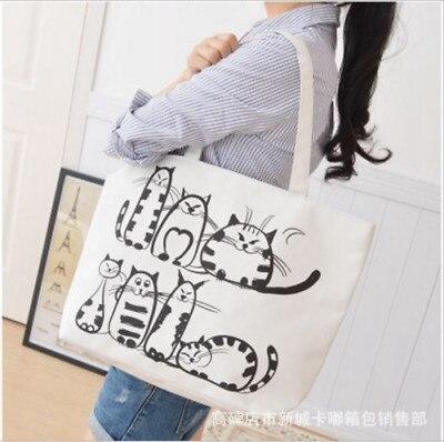 Bolsa de compras reutilizable bolsas de almacenamiento para mujer lona impresa señora bolso de hombro bolso de mano lindo gato de dibujos animados bolsas de compras