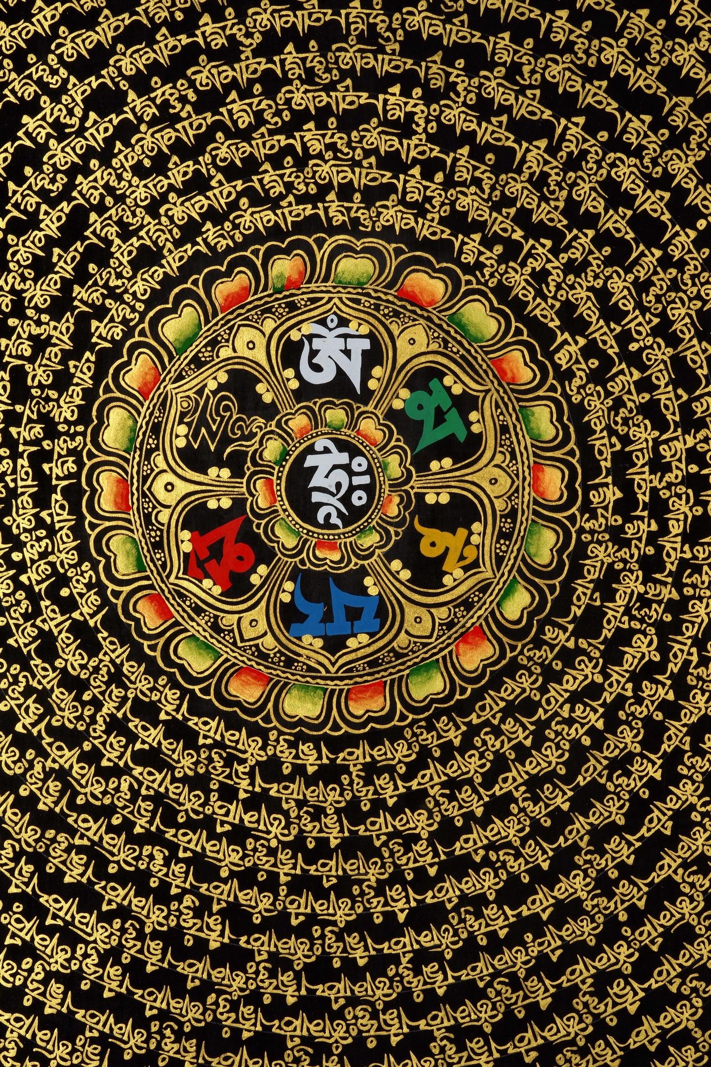 100CM * 100CM sixwords Mandala Lama puro pintado a mano pinturas thangka mantra de Guanyin