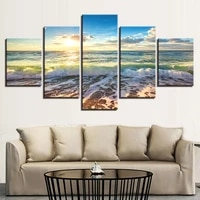 canvas modular decoration posters picture wall art home unframed 5 panel sunrise seacape living room hd modern printed painting