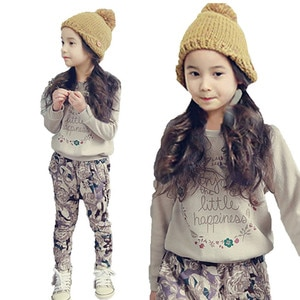 Girls Clothing Set Spring Autumn Letter Print T-shirts+Harem Pants Costume children Clothes Teenage Kids Tracksuits baby Outfits