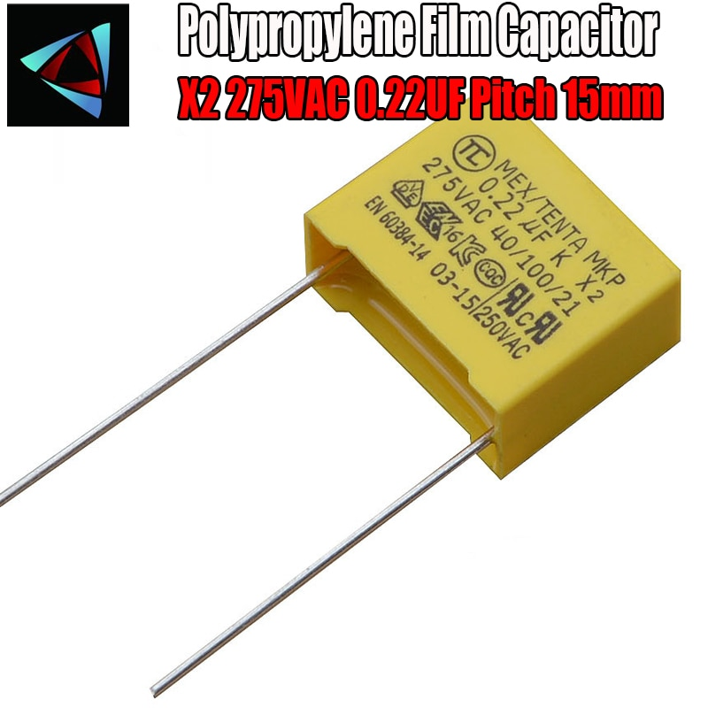 6 шт. 0,22 мкФ конденсатор X2 конденсатор 275VAC шаг 15 мм X2 полипропиленовая пленка конденсатор 224K