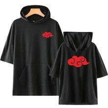 Offre spéciale Anime t-shirt Naruto Akatsuki nuage Badge impression à capuche t-shirt Uchiha Itachi Hip Hop Costume hauts t-shirts vêtements unisexe