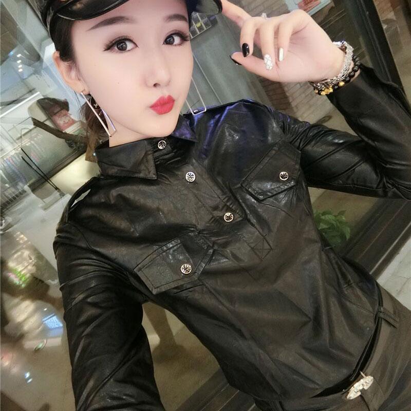 De talla grande 3XL mujeres cálido otoño camisa cuello largo-Manga PU Tops blusa