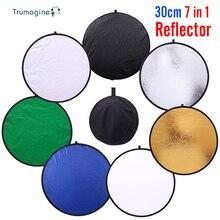 Mini 30 Cm 7 In 1 Opvouwbare Wit Licht Reflector Diffuser Fotografie Reflector Houvast Draagbare Flash Foto Reflector Disc