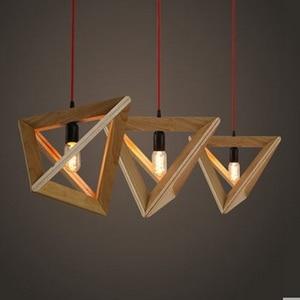 Japanese retro American bedroom living room European creative personality restaurant light triangle wood frame chandelier