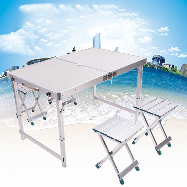 LK630 Hoge Kwaliteit Vouwen Salontafel Set Aluminium Eetkamer Bureau Met Vier Krukken Outdoor Camping Picknick Tafel Sets