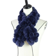 Harppihop-écharpe en vrai fourrure pour femmes   Écharpe en boules, mode luxe grand Rex fourrure de lapin marque, épais chaud hiver M81903