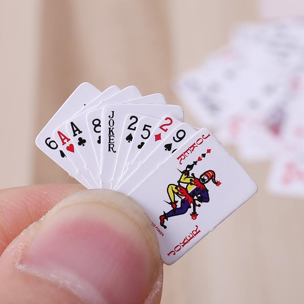 2set Cute Miniature Dollhouse 1:12 Mini Poker Playing Cards Home Decoration Toys