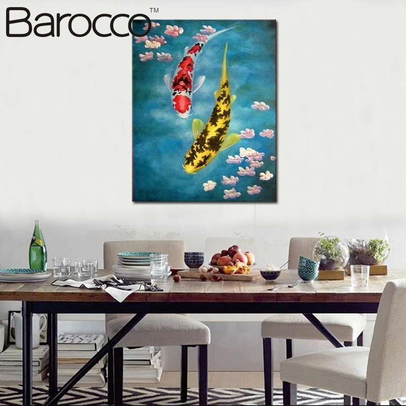 Modern abstract  Oil Painting On Canvas wall art  FengShui painting fish no stretched Free shipping