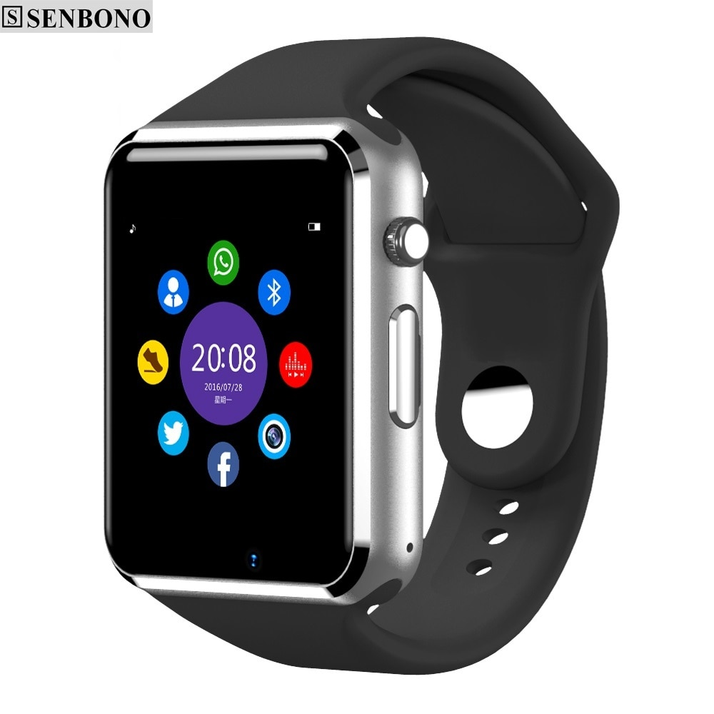 Reloj inteligente SENBONO Bluetooth A1 para hombre, tarjeta SIM, cámara TF, contador de pasos deportivo, reloj inteligente para Smartphone Android Russie T15