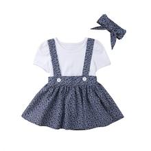 T-shirts longues manches pour bébés filles   Ensemble 3 pièces, hauts blancs + jupe à fleurs, tenue princesse, ensemble avec jupe bavoir