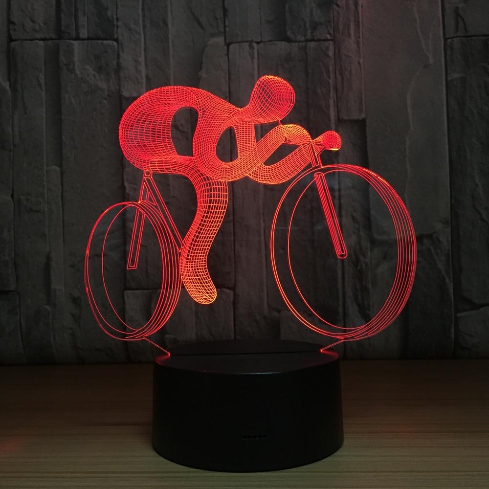 Lámpara LED 3D para bicicleta, lámpara LED de noche, 7 colores que cambian, decoración holograma Visual, pilas AAA, lámpara de mesa Usb, lámpara de regalo para deportistas