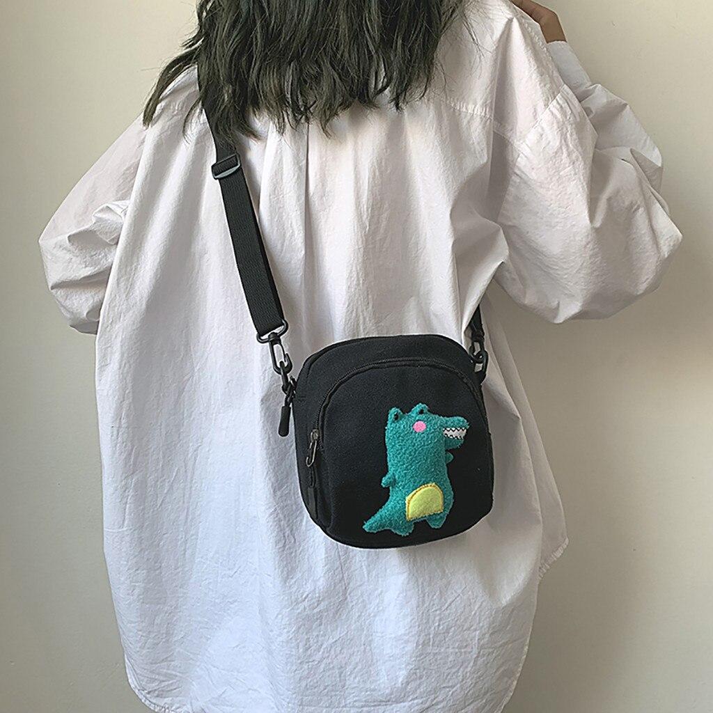 Bolsos de lona mujeres lindo estudiante coreano bolsa de lona bolsa de hombro versátil bolsa de mensajero g teléfono móvil Bagss Casual señoras solapa #5