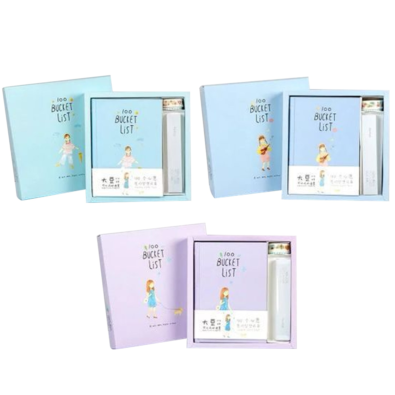A5 Kawaii 100 lista cuaderno diario libros planificador con cinta pluma regla para los estudiantes de las niñas de los niños regalos