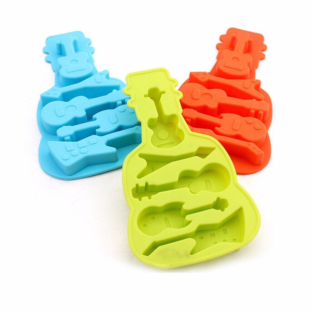 1 pieza de molde de silicona con forma de guitarra de bajo, gelatina, Chocolate, jabón, decoración de pasteles, utensilios de cocina DIY, utensilios para hornear