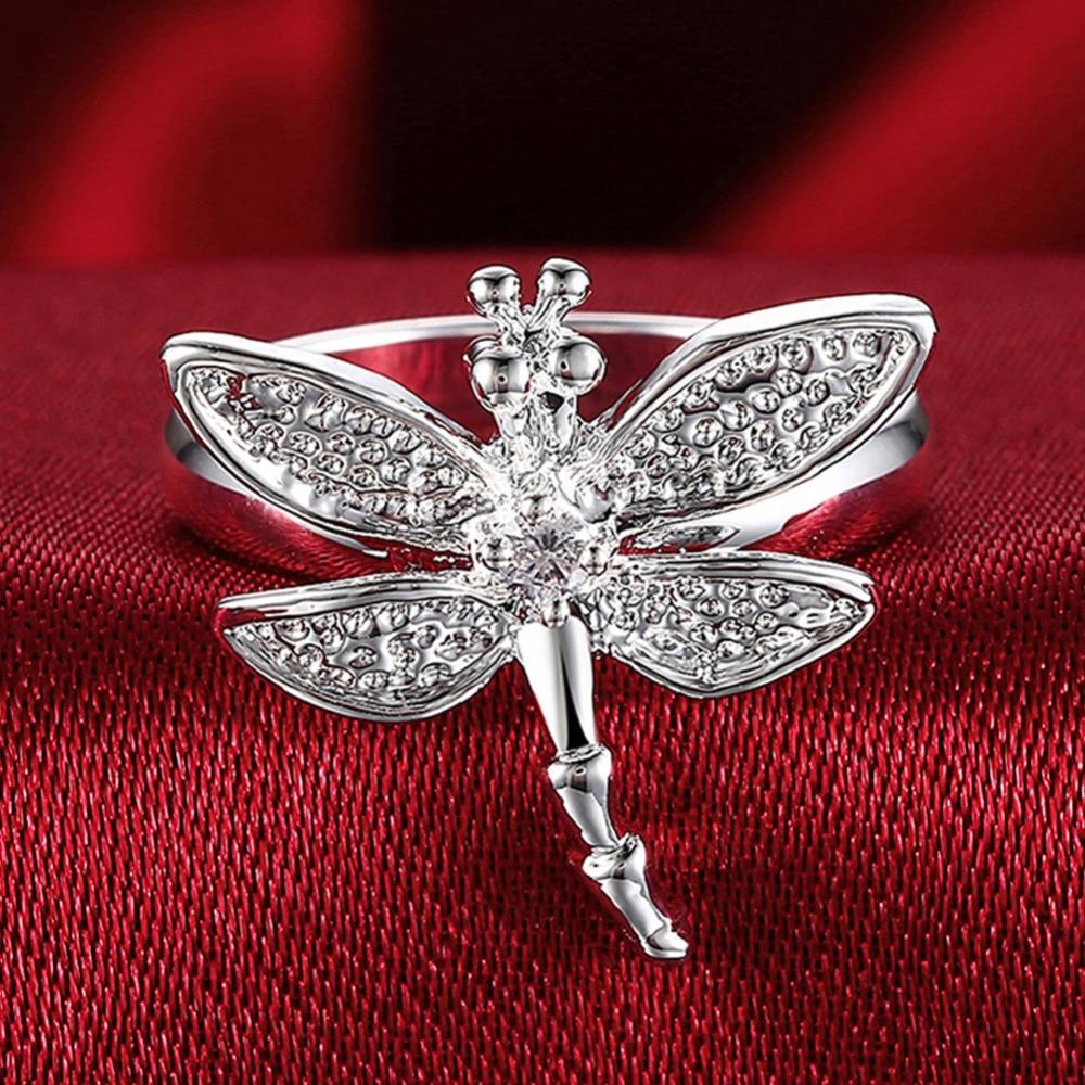 Venda quente 925 anéis de prata inseto libélula anéis de cristal para mulheres menina cor prata anéis de jóias de casamento presentes