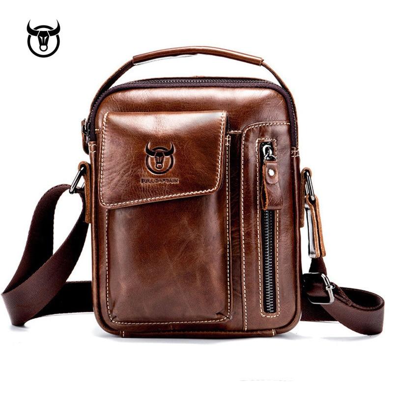 New Genuine Leather men's Crossbody Shoulder bag Vintage Cowhide Messenger Bag for male Small Casual handbag