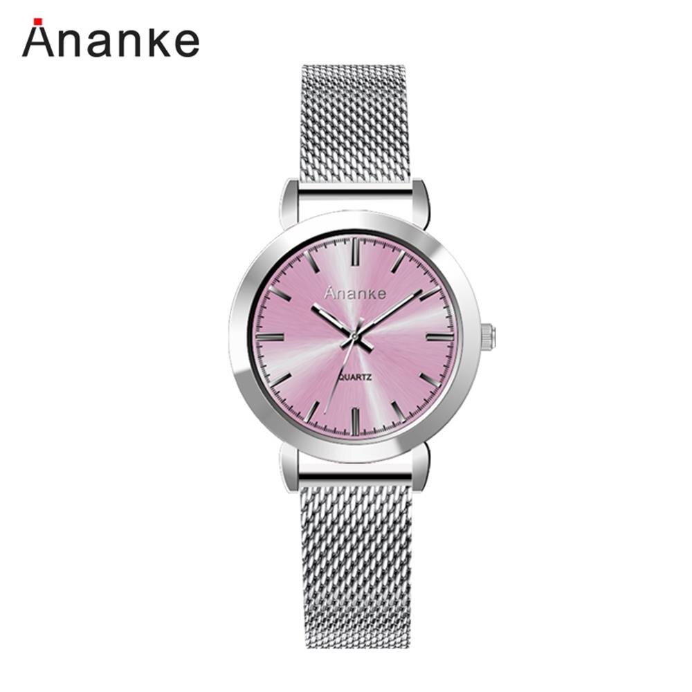 Reloj de cuarzo rosa de acero inoxidable para mujer de lujo 2019, reloj de pulsera informal a prueba de agua a la moda, reloj femenino informal xfcs