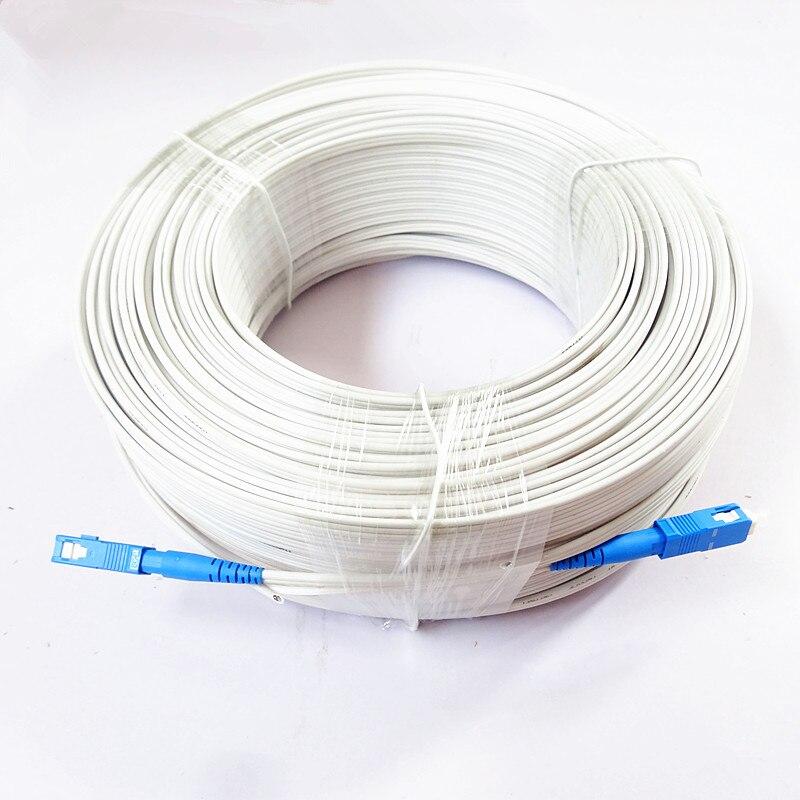 Cable de fibra FTTH Drop Patch SC G657A blanco para exteriores de 500M, Cable de parche de fibra óptica SC SM MM, 1 núcleo, 3 cables, Cable de mariposa Tipo óptico