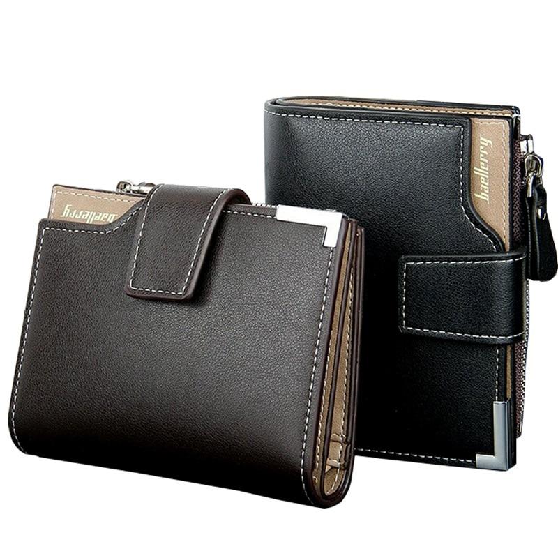 2019 Hot homens Carteira de couro dos homens carteiras bolsa curto masculino titular do cartão bolsa da moeda do bolso de carteira dos homens de couro com três dobras embreagem hasp