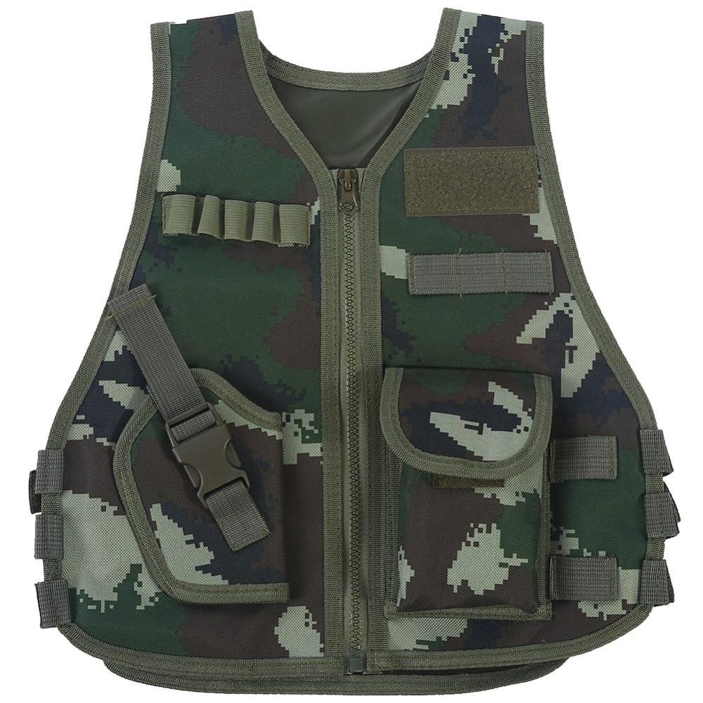 Chaleco de camuflaje de francotirador para niños, ropa de caza, chaleco de camuflaje para chico y niña, chaleco con escote en V, chaleco ajustable para chico