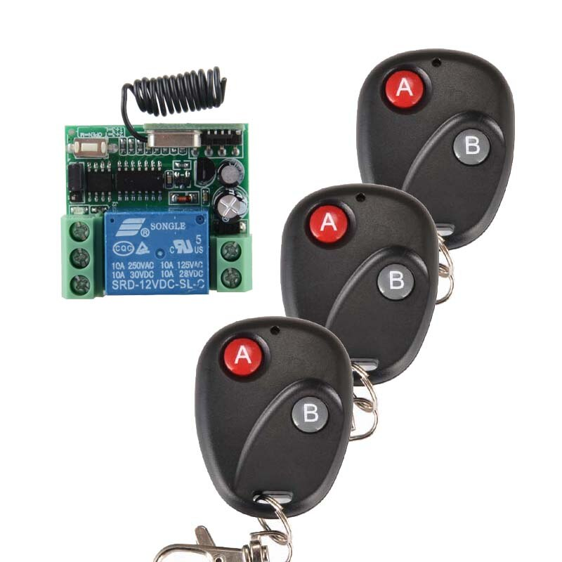 DC12V 1CH RF inalámbrico Control remoto sistema de iluminación transmisor con receptor de dos botones interruptor de hogar inteligente