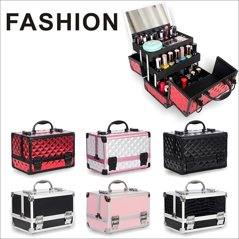 صندوق مكياج احترافي جديد للفنانين ، حقيبة مكياج ، حقيبة أدوات متعددة الطبقات للوشم والأظافر ، حقيبة تخزين فاخرة