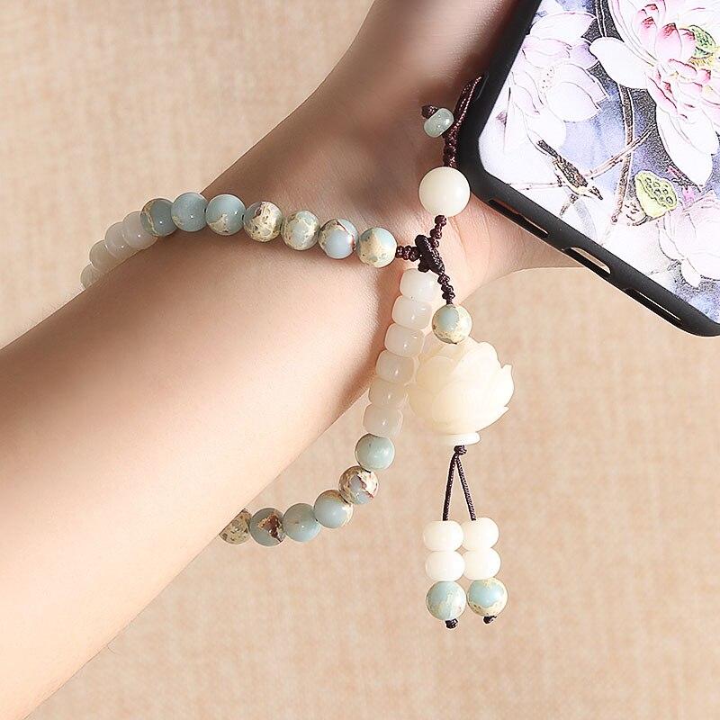 WEIYU redondo ShouShan piedra piel de serpiente azul piedra cuentas pulsera tallada Lotus muñeca Mala pulsera Yoga cuentas de madera joyería