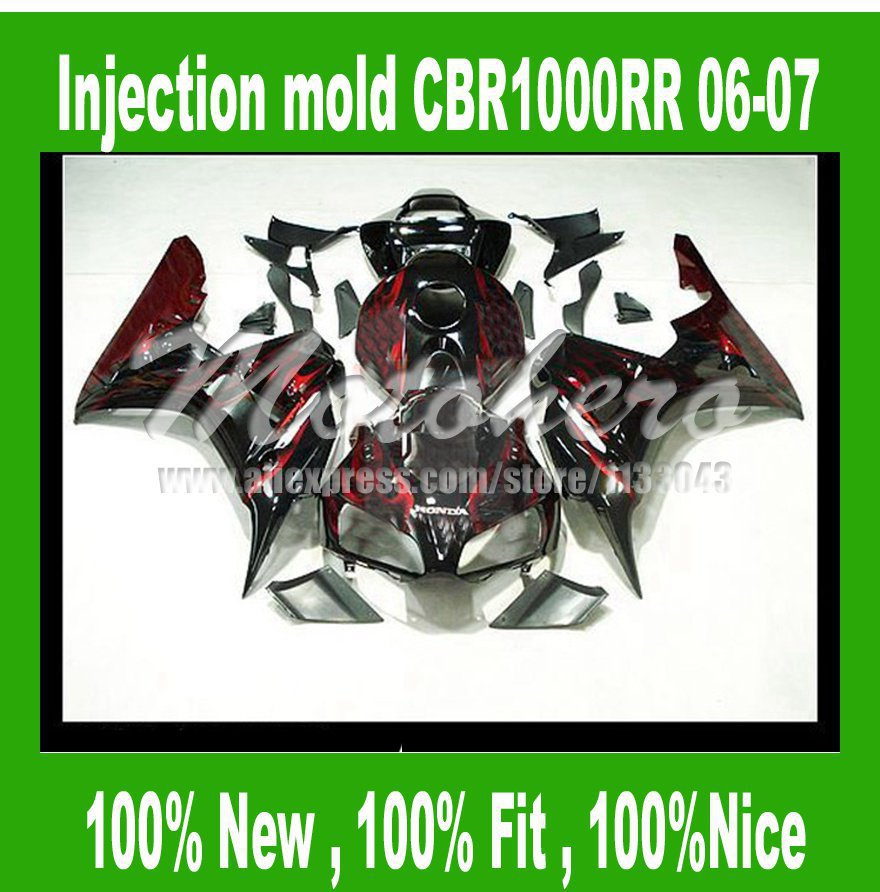 CBR1000RR Fairing for honda CBR1000RR 06 07 CBR 1000RR 06 07 CBR 1000 RR 2006 2007 fairing parts Black red flame CBR1000rr #S722