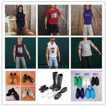 6 pièces = 3 costumes + 3 chaussures mode KEN vêtements petit ami et chaussures accessoires tenue costumes ensemble de vêtements pour poupées barbie