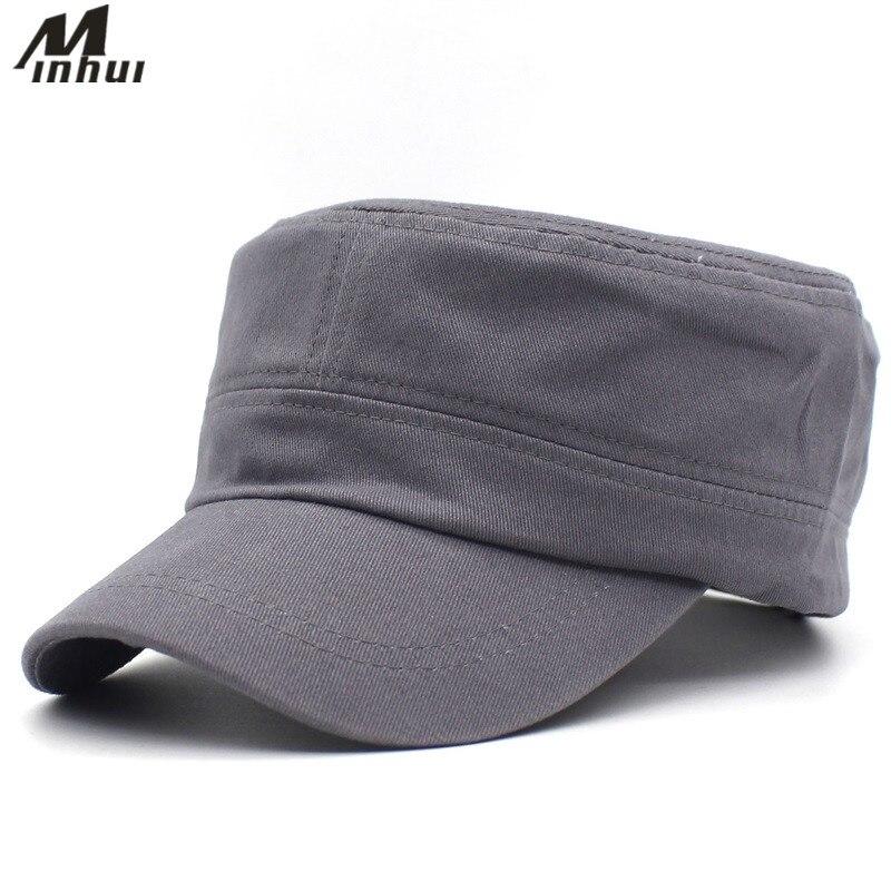 Minhui 2018 nuevos sombreros militares sólidos para hombres gorra plana clásica para mujeres gorra de algodón gorras ajustables