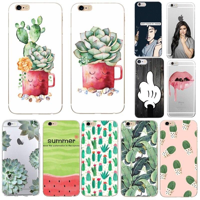 Flower Floral Silicona Capa For Funda iphone 8 plus 7 6S 6 Cactus Cat Dog Girl Rosa Bags Print Coque For iphone se 5 5s 7 plus