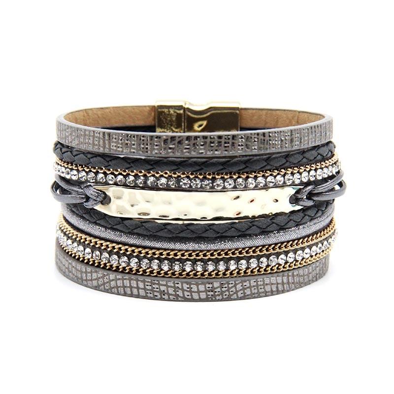 ZG New Arrive Fashion Jewelry Grey and Kahki color Women Bracelet with Gold color Bar magnetic bracelet