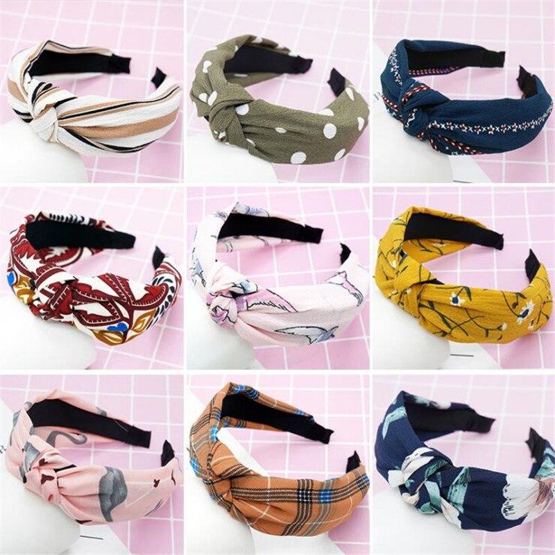 Serre-tête bohème pour femmes filles   Imprimé à la mode, bandeau avec nœud, accessoires de coiffure pour femmes filles