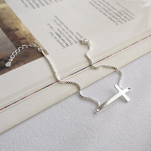 Pulseras de cruz de plata de ley 925 auténtica para las mujeres caja de cadena bijoux, pulseras de moda pulseras para mujer 925 joyería