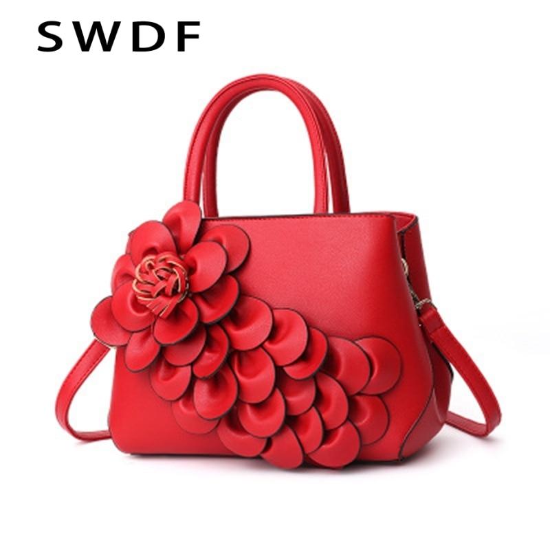 SWDF New Women Shoulder Bag Large-Capacity Handbag Women Brand Designer Three-Dimensional Flower Messenger Bag Hand Open Pocket