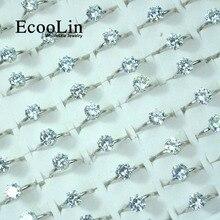 10Pcs EcooLin Jewelry Fashion 1.0 Carat Zircon Silver Plated Rings Lots For Women Bulk Packs LR4023