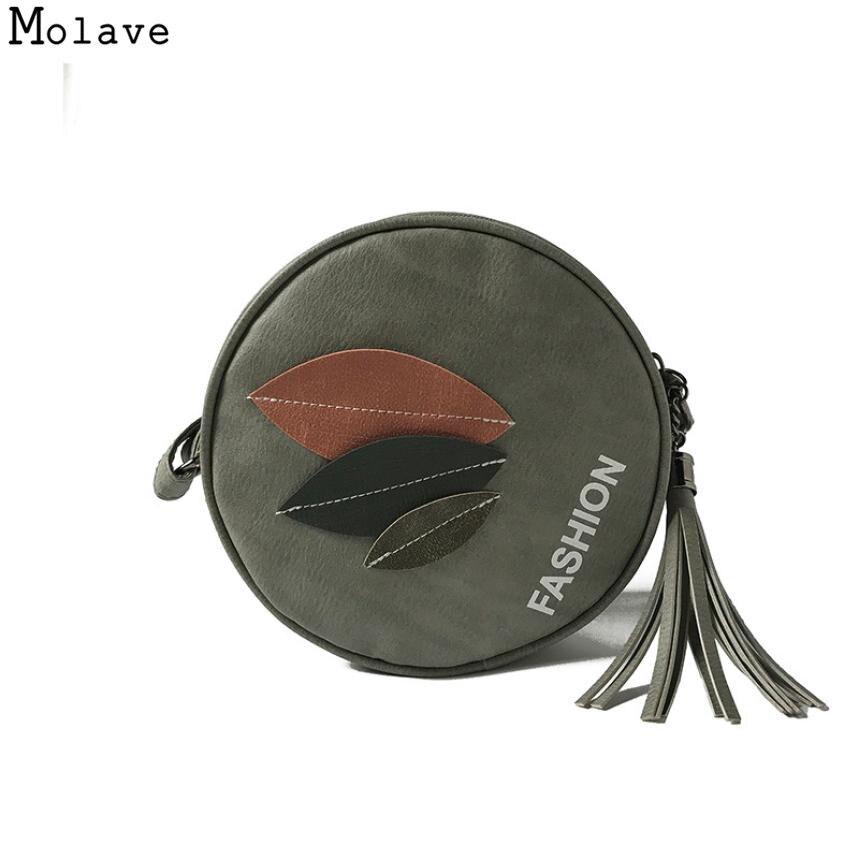 AA Naivety, bolso de mano para mujer, hoja con apliques, bolsa con cremallera, bolso de hombro de cuero de PU, bolsas de mano redondas, 15S7914, triangulación de envío