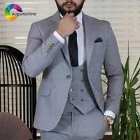 grey men suits wedding suits for man blazer suit wide peaked lapel 3piece jacket pants vest classic groomsmen suit groom tuxedos