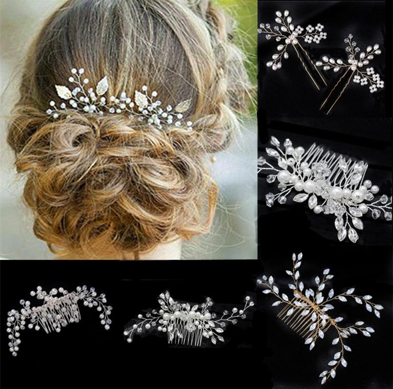 Nuevas Tiaras de novia para boda corona diadema pelo Clips accesorios para el cabello joyería para mujeres perla flor diadema