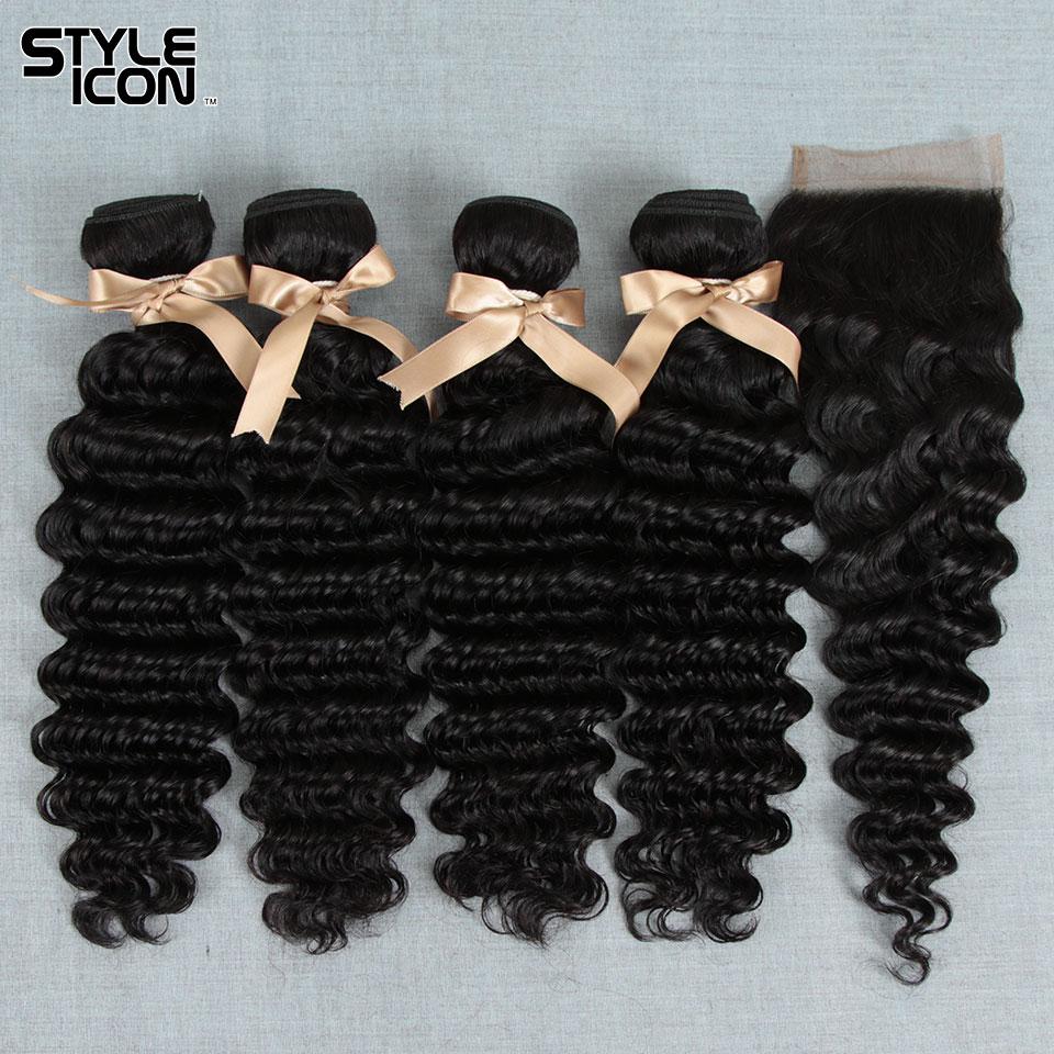 STYLEICON Deep Wave Hair Bundles With Closure Brazilian Deep Wave Bundles with Closure Non-remy 3 Bundles with Closure Deep Wav