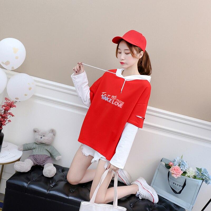 Bangtan niños T camisa mujeres Kpop manga larga amor falso carta impresión Casual con capucha Tops falsa de dos piezas Harajuku ropa