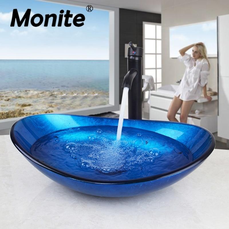 Monite الحمام مغسلة كونترتوب الزجاج المقسى حوض بالوعة صنبور مجموعة النحاس شلال صنبور الحمام سفينة الغرور شريط السفينة