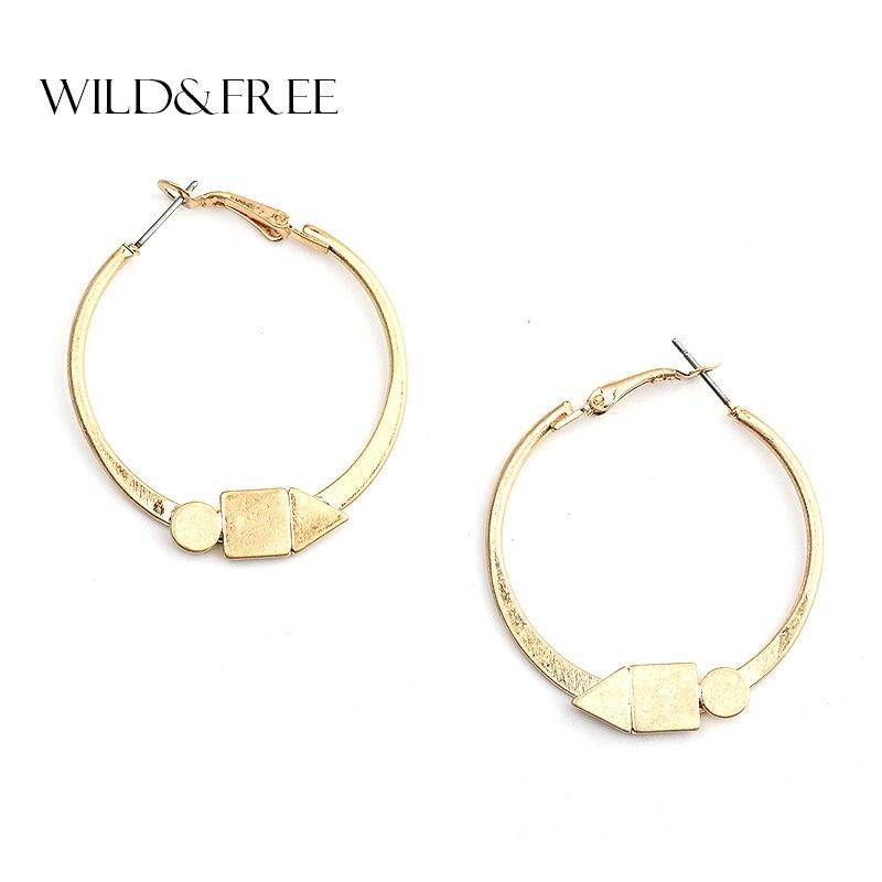 WILD & FREE Vintage Women Simple Design Zinc Alloy Round Hoop Earrings Antique Gold Hoop Earrings Jewelry for Women Gift