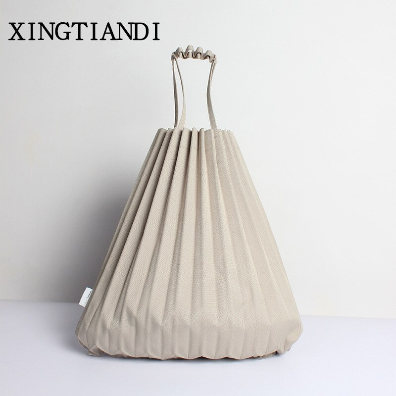 Canvas Pleats Causal Tote Bag Large Capacity Shoulder Bag Vertical-pleats Candy Color Japanese Style bags for women 2018