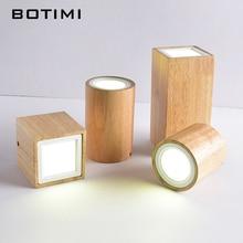 BOTIMI luces de techo LED modernas para pasillo pequeña redonda y de madera lámpara de techo 220V cuadrado cuboide madera Foyer Lightings