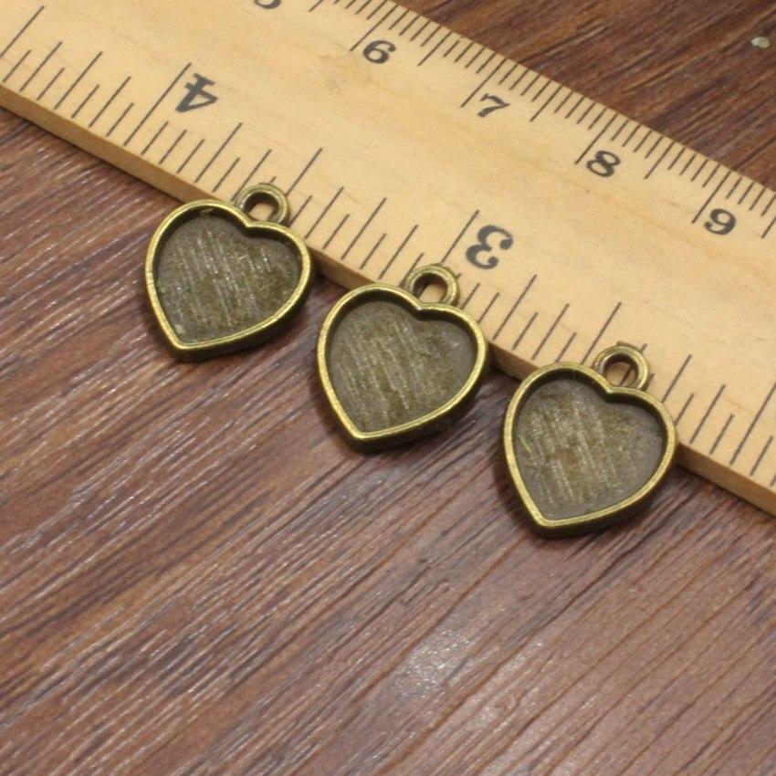 Ajuste 10mm bronce Vintage aleación de Zinc Corazón en blanco ajuste bisel Base pulsera con cabujón DIY brazalete 50 unids/lote (K05316)
